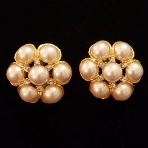 VTG Large Pearl & Rhinestone Clip Earrings